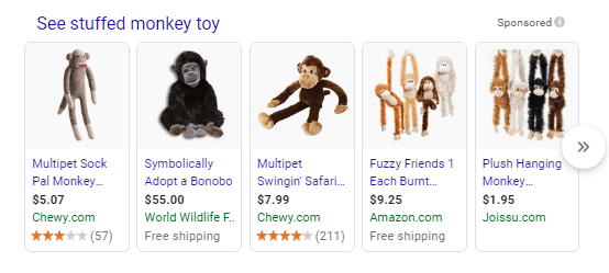 SERP shopping Results
