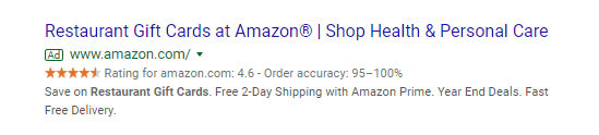 SERP sponsored results in ads